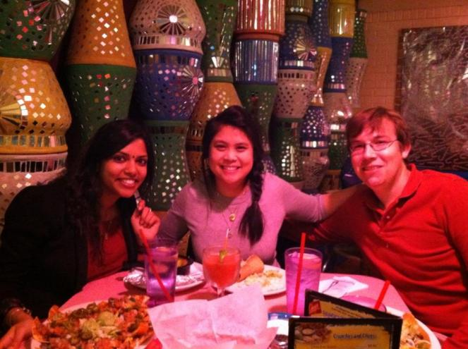 Heather, Daniel and I at Chuy's tex-mex restaurant in Houston, Texas. Reunions=turning layovers into vacat