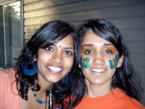 With Juhi just before the 2007 national basketball championship game at UF.